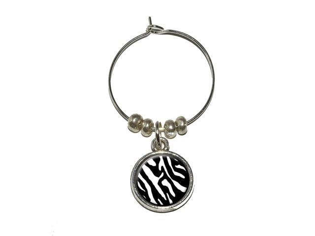 Zebra Print Black White Wine Glass Charm Drink Stem Marker Ring