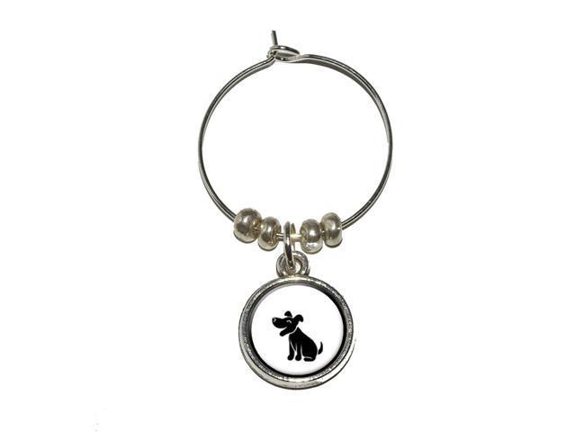 Dog Stick Figure Family - Pet Wine Glass Charm Drink Stem Marker Ring - OEM