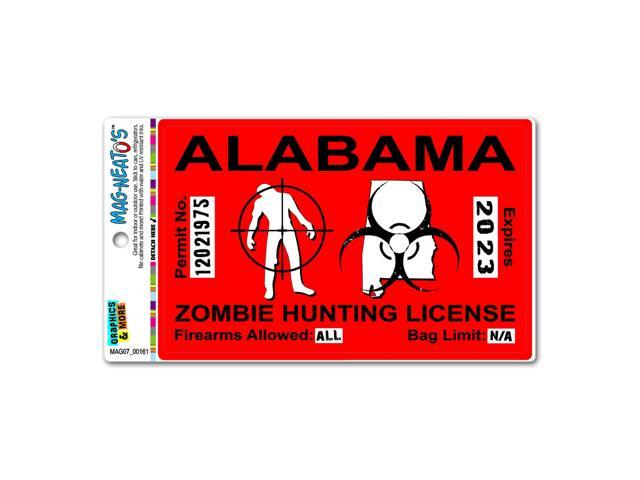 Alabama al zombie hunting license permit red united states for Alabama non resident fishing license