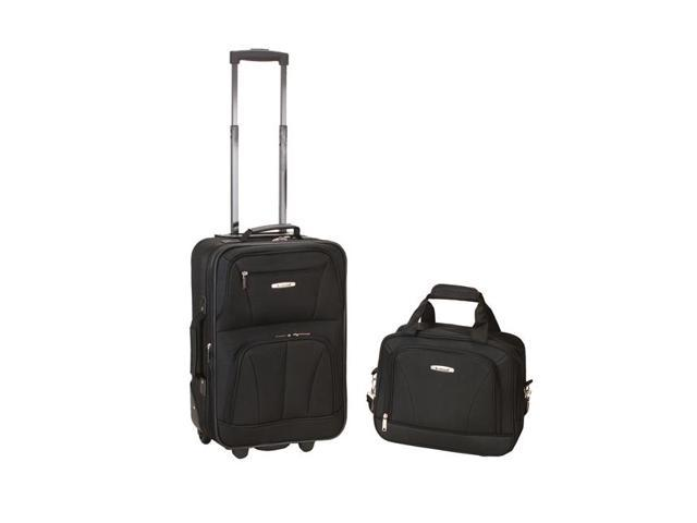 Fox Luggage F102-BLACK 2 Pc Black Luggage Set 19 in. Upright & 12 in. Tote - Polyester