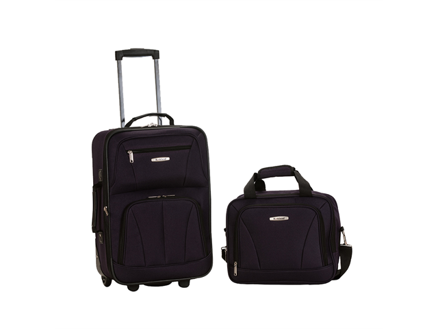 Rockland Rio Upright Carry-On & Tote 2-Piece Luggage Set - Purple