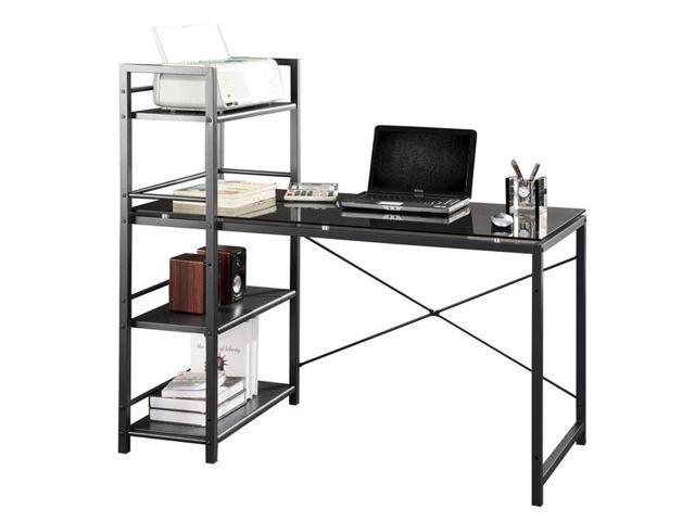 Contemporary Glass Top Computer Desk with 4-Shelf Bookcase - Black