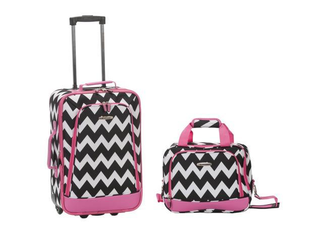 Rockland Rio Upright Carry-On & Tote 2-Piece Luggage Set - Pink Chevron