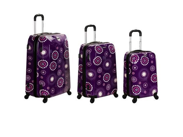 Rockland Vision Hardside Spinner Upright 3-Piece Luggage Set - Purple Pearl