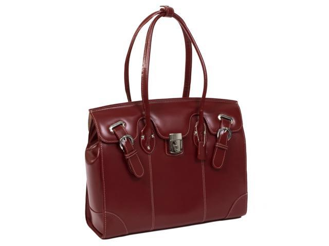 McKlein LeClaire Ladies' Italian Leather Laptop Tote Case #96876 Red