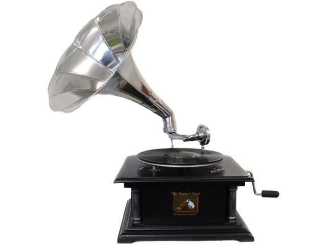 Antique Replica RCA Victor Phonograph Gramophone with Large Silver Metal Horn