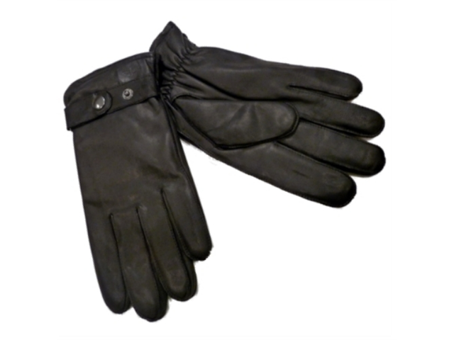 Dockers Mens Black Genuine Leather Gloves with Snap Front Microterry Lined XL