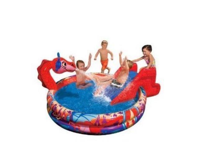 Slide N Spray Inflatable Dragon Swimming Pool Sprinkle