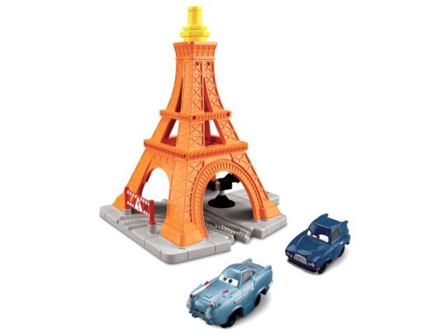 Fisher Price Disney Cars GeoTrax Eiffel Tower Crash Set with 2 Vehicles Geo Trax