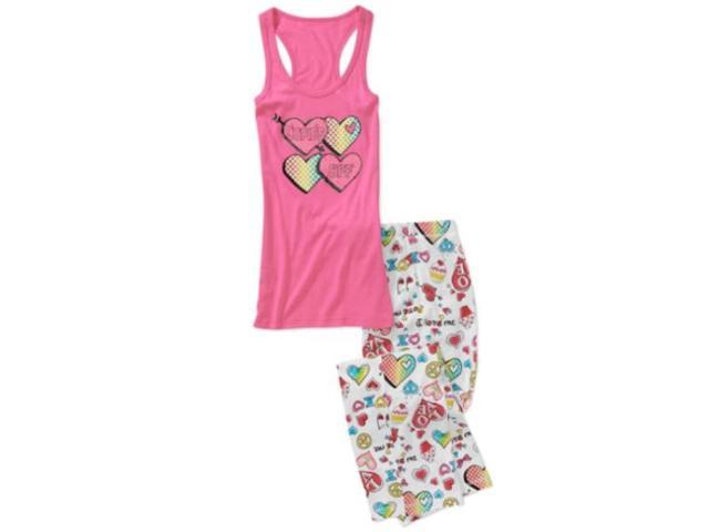 No Boundaries Womens Love Sleep Pants & Tank Pajamas Set Cupids BFF PJs Heart