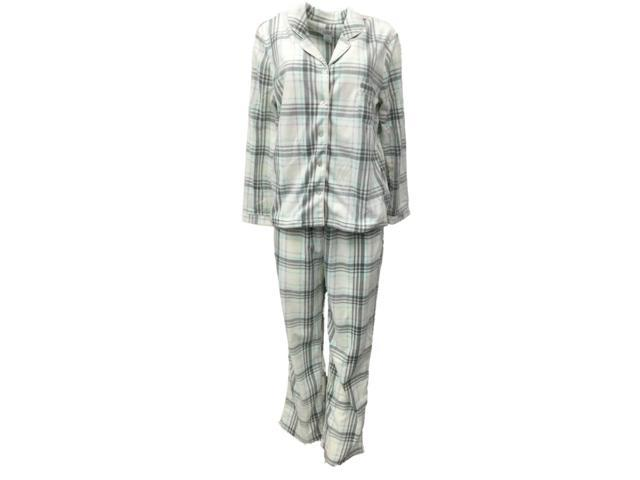 Soft Sensations Womens Ivory Purple & Gray Plaid Fleece Pajamas PJs Sleep Set S