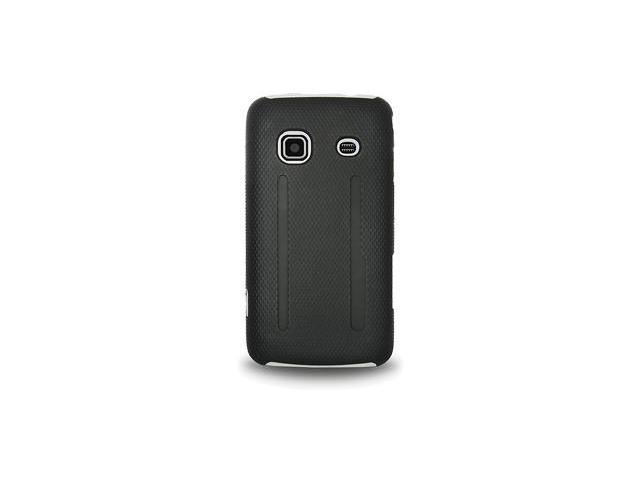 Amzer Silicone-PolyCarbonate Hybrid Case - Black & White For Samsung Galaxy Prevail