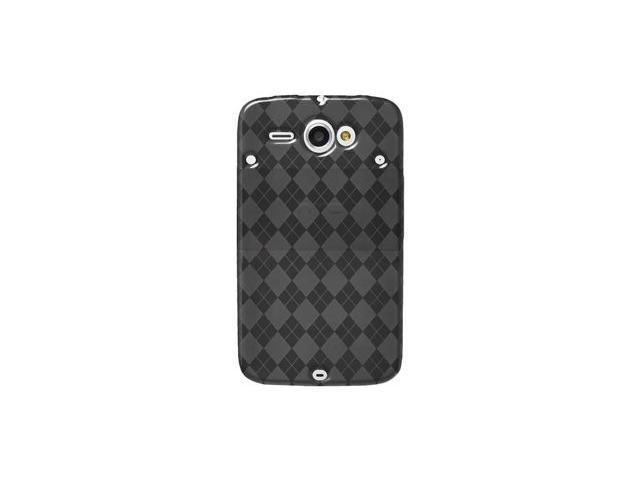 Amzer Luxe Argyle High Gloss TPU Soft Gel Skin Case - Smoke Grey For HTC ChaCha,HTC Status