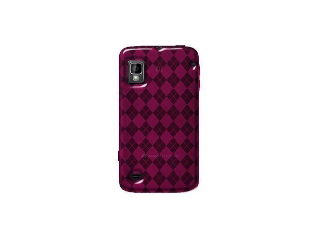 Amzer Luxe Argyle High Gloss TPU Soft Gel Skin Case - Hot Pink For ZTE Warp