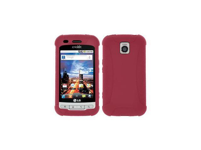 Amzer Silicone Skin Jelly Case - Maroon Red For LG Optimus M MS690,LG Optimus C LW690