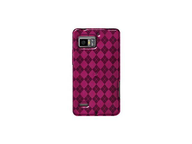 Amzer Luxe Argyle High Gloss TPU Soft Gel Skin Case - Hot Pink For Motorola DROID BIONIC XT875