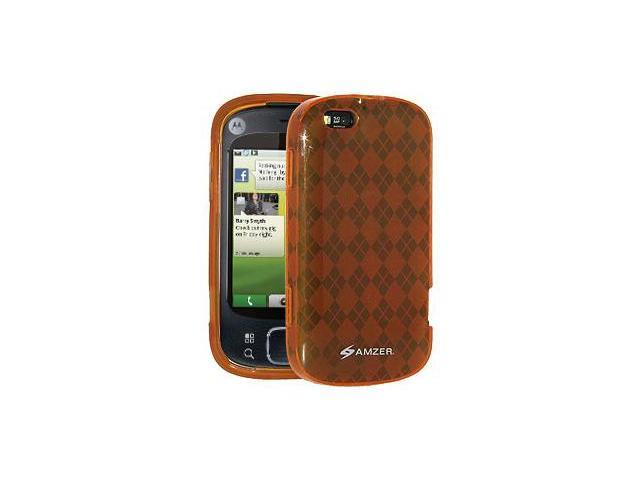 Amzer Luxe Argyle Skin Case - Orange For Motorola CLIQ XT MB501