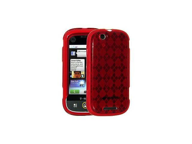 Amzer Luxe Argyle Skin Case - Red For Motorola CLIQ MB200