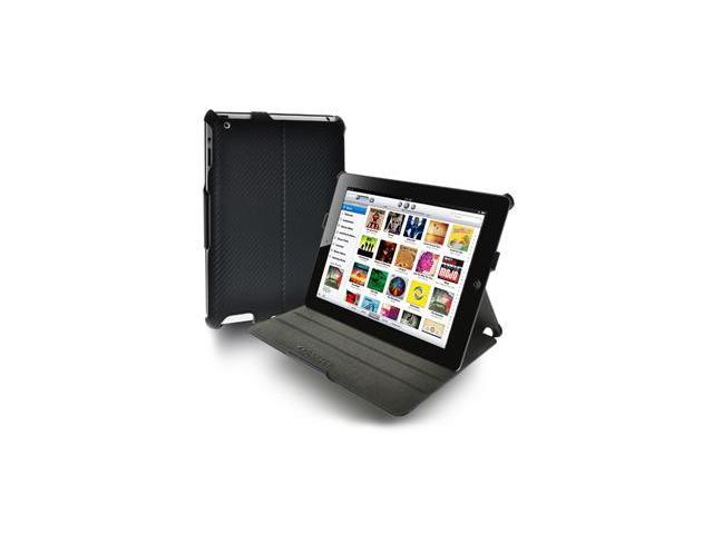 Amzer Shell Portfolio Case - Black Carbon Fiber Texture For Apple iPad 2