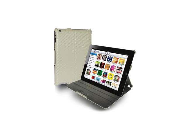 Amzer Shell Portfolio Case - White Carbon Fiber Texture For Apple iPad 2