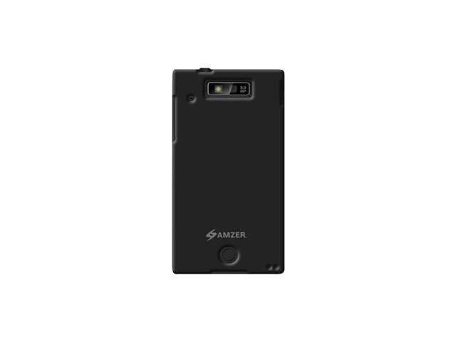 Amzer Rubberized Black Snap On Crystal Hard Case For Motorola TRIUMPH