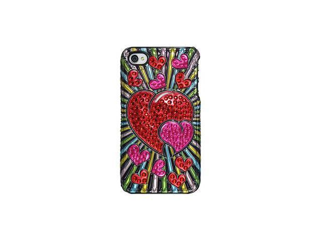 Amzer 3D Metallic Snap On Case - Red Hearts