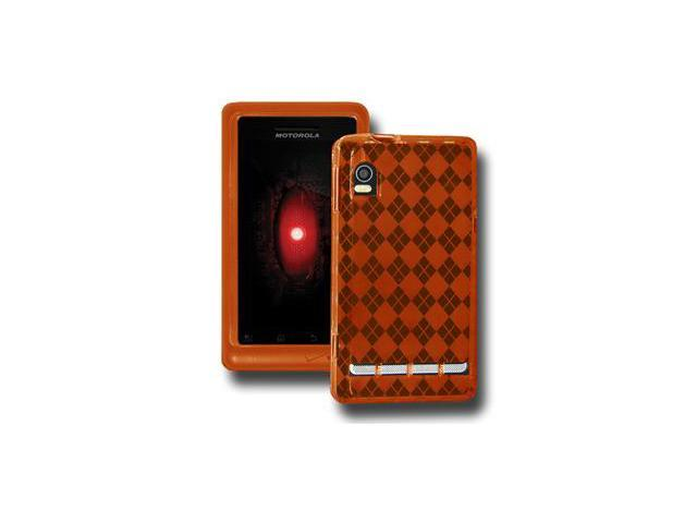Amzer Luxe Argyle High Gloss TPU Soft Gel Skin Case - Orange For Motorola Droid 2 A955