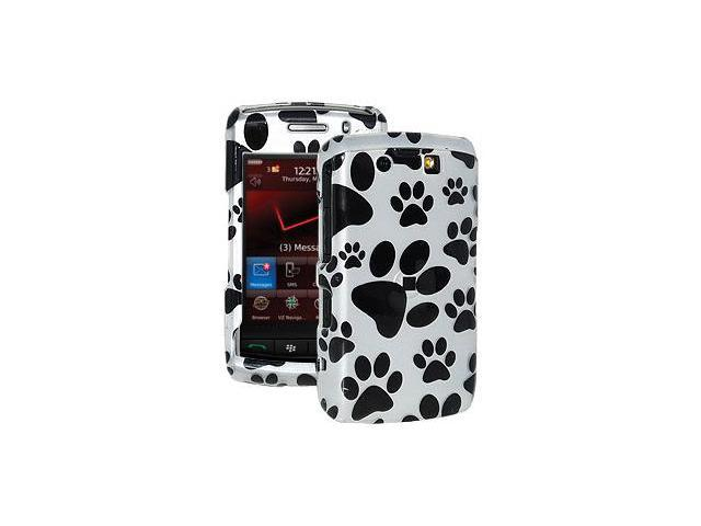 Amzer Limited Edition Paw Print Snap On Hard Case - Silver/ Black For BlackBerry Storm 2 9550