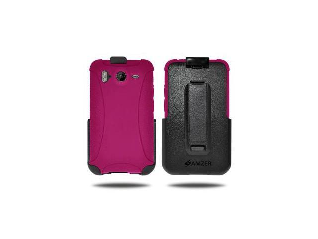 Amzer Silicone Jelly Skin + Holster Combo - Hot Pink For HTC Desire HD