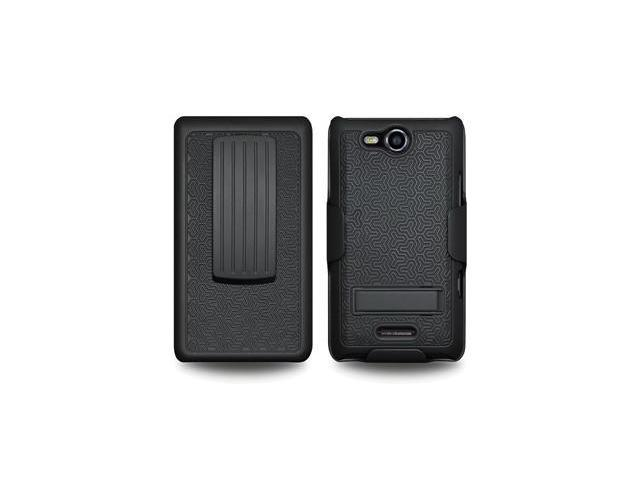 Amzer Shellster with Kickstand - Black For LG Viper LS840, LG Connect 4G MS840