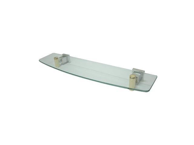 CLAREMONT GLASS SHELF-Chrome/Polished Brass Finish