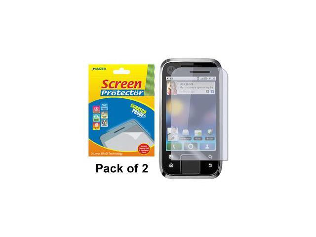 Amzer Super Clear Screen Protector with Cleaning Cloth - Pack of 2 For Motorola FLIPSIDE MB508