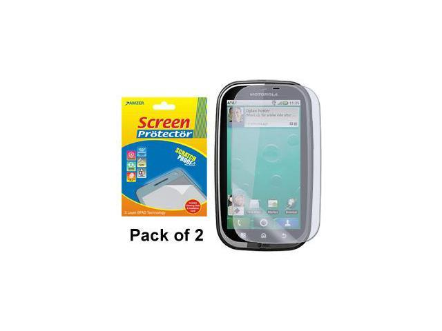 Amzer Super Clear Screen Protector with Cleaning Cloth - Pack of 2 For Motorola BRAVO MB520
