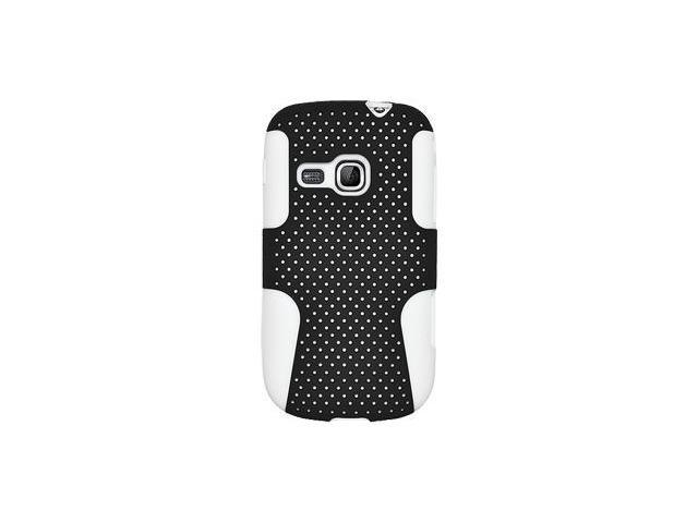 Amzer Silicone-Perforated PolyCarbonate Hybrid Case - Black/ White For Samsung Galaxy Mini 2 GT-S6500