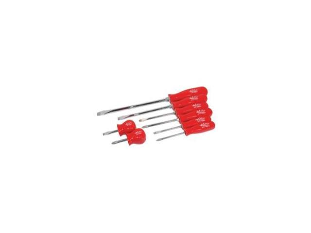 8 Piece Phillips and Slotted Screwdriver Set with Red Handles