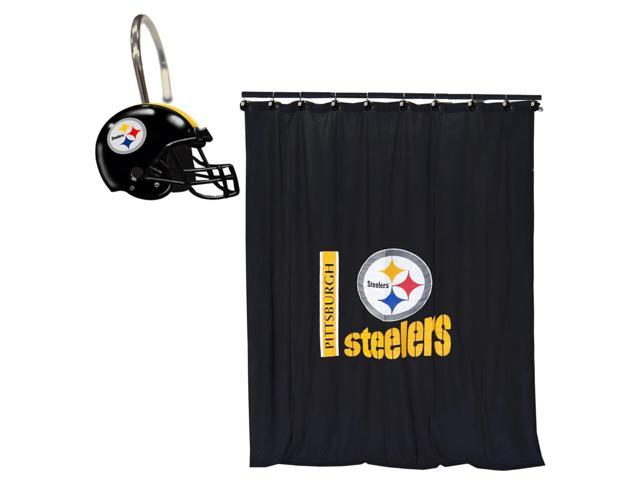 Nfl Pittsburgh Steelers Bath Curtain Shower Rings Set