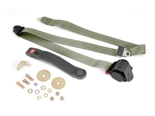 Omix-ada This olive drab 3-point retractable seat belt from Rugged Ridge fits universal applications. Use with front or rear seats. 13202.42