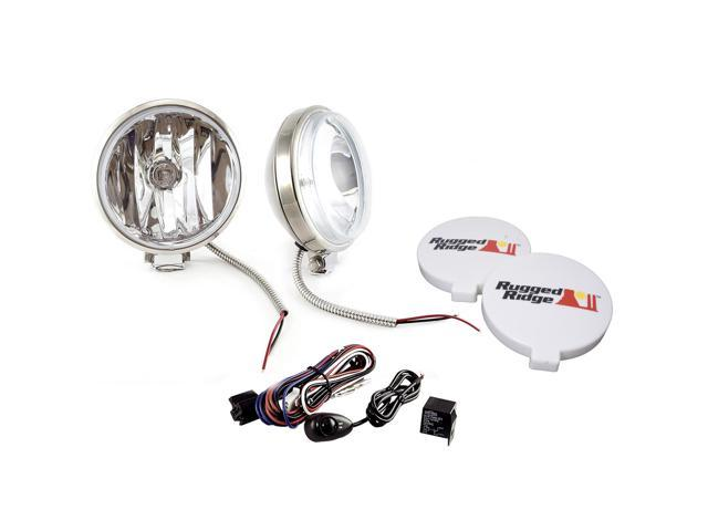 Rugged Ridge 15208.58 6-Inch Slim Halogen Fog Light Kit, Stainless Steel Housings