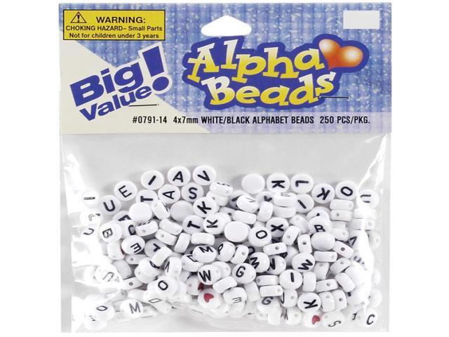 Alphabet Beads 7mm 250/Pkg-White Round W/Black Letters