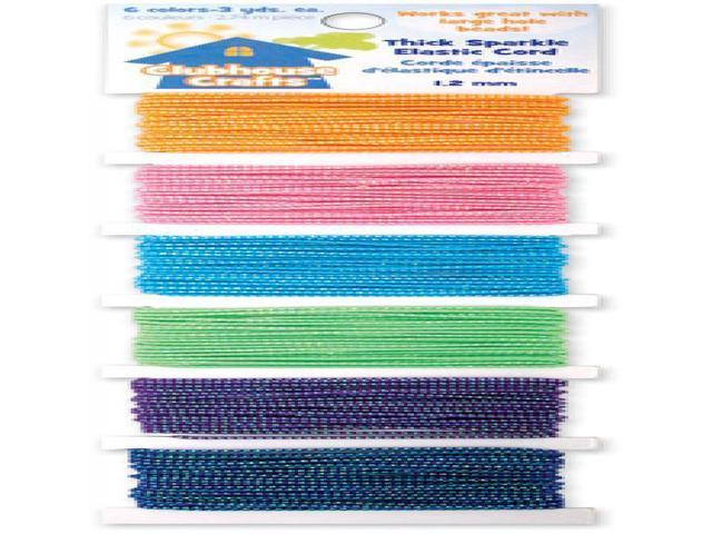 Clubhouse Crafts Elastic Cord-Thick Sparkle - 3yd Each Of 6 Colors