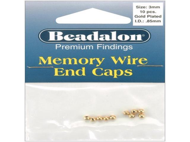 Memory Wire End Caps 3mm 10/Pkg-Gold-Plated