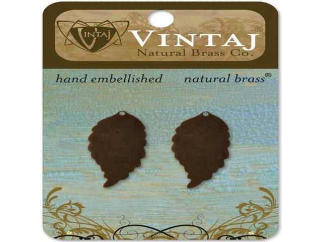 Vintaj Metal Blanks-Ambrosial Leaves 30mmX14.5mm 2/Pkg