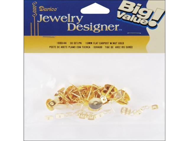 Flat Pad Earring Posts & Butterfly Clutches 10mm 48/Pkg-Gold-Plated