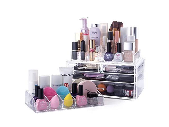 Melodysusie Large Acrylic Makeup Organizer 3 Pieces