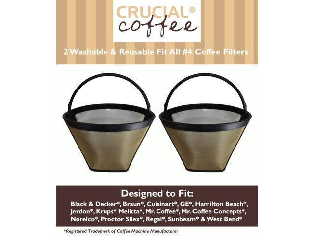 2 Washable & Reusable Coffee Filters # 4 Cone Fit Black & Decker, Braun, Cuisinart, GE, Hamilton Beach, Jerdon, Krups, Melitta, Mr. Coffee, Mr. Coffee Concepts, Norelco, Proctor Silex