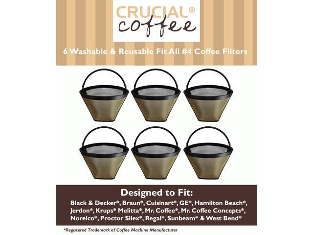 6 Washable & Reusable Coffee Filters # 4 Cone Fit Black & Decker, Braun, Cuisinart, GE, Hamilton Beach, Jerdon, Krups, Melitta, ...