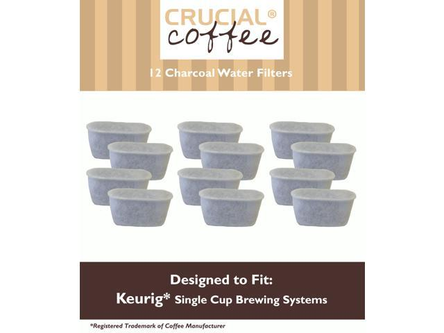 12 Keurig Charcoal Water Filters; Fits Keurig Single Cup Brewing Systems; Designed & Engineered by Crucial Coffee
