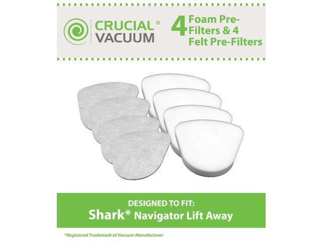 Shark Navigator Lift-Away NV350, NV351, NV352, NV355, NV356, NV356E, NV357 Washable Foam and Felt Pre-Filter Replacement Kit 8PK; Replaces Shark Part# XFF350 & XFF350NZ