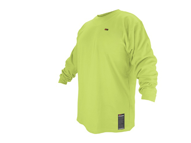 Black Stallion FTL6-LIM Lime Green Flame Resistant Long Sleeve T-Shirt, Large