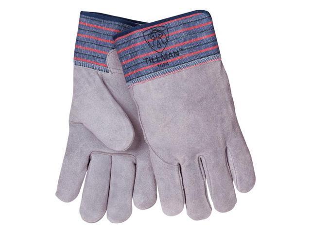 Tillman 1524 Split Cowhide Full Leather Back Rubber Cuff Gloves, Large | Pkg =12